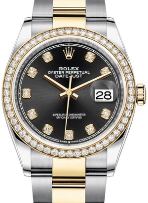 Rolex Datejust 36 126283RBR Black set with diamonds