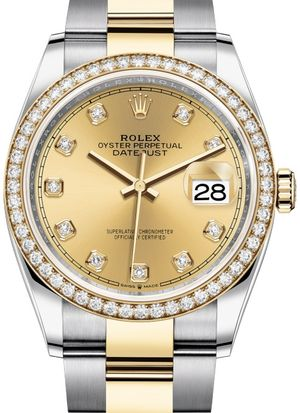 126283RBR Champagne-colour set with diamonds Rolex Datejust 36