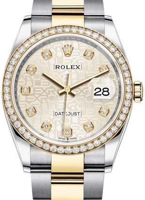 126283RBR Silver Jubilee design set with diamonds Rolex Datejust 36