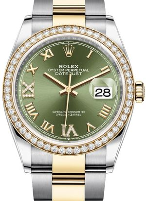 126283RBR Olive green set with diamonds Rolex Datejust 36