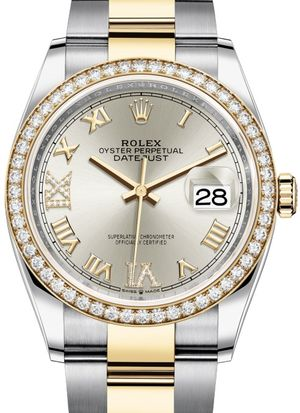126283RBR Silver set with diamonds Rolex Datejust 36