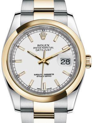 116203 White index Oyster Bracelet Rolex Datejust 36