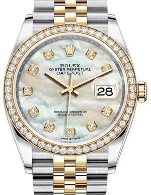 126283RBR White mother-of-pearl set with diamonds Rolex Datejust 36