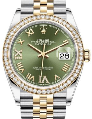 126283RBR Olive green set with diamonds Jubilee Rolex Datejust 36