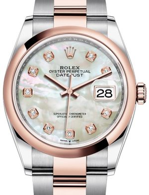 126201 White mother-of-pearl set with diamonds Rolex Datejust 36