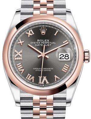 126201 Dark rhodium set with diamonds Jubilee Rolex Datejust 36
