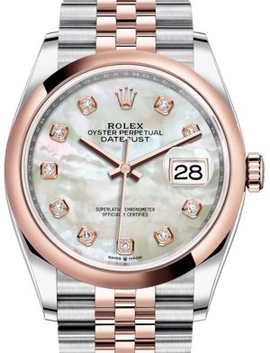 126201 White mother-of-pearl set with diamonds J Rolex Datejust 36