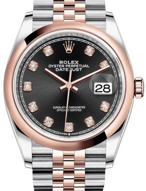 Rolex Datejust 36 126201 Black set with diamonds Jubilee