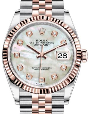 126231 White mother-of-pearl set with diamonds Rolex Datejust 36