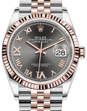 126231 Dark rhodium set with diamonds Rolex Datejust 36