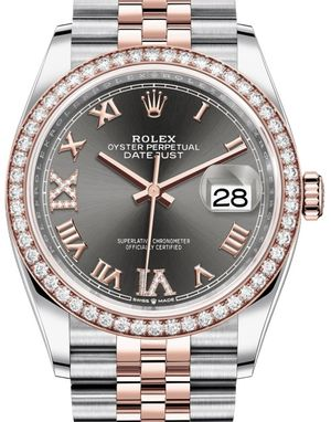 126281RBR Dark rhodium set with diamonds Rolex Datejust 36
