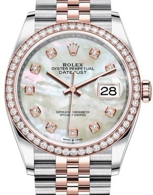 126281RBR White mother-of-pearl set with diamonds Rolex Datejust 36