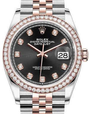 Rolex Datejust 36 126281RBR Black set with diamonds
