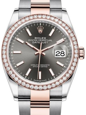 126281RBR Dark rhodium Chromalight Rolex Datejust 36