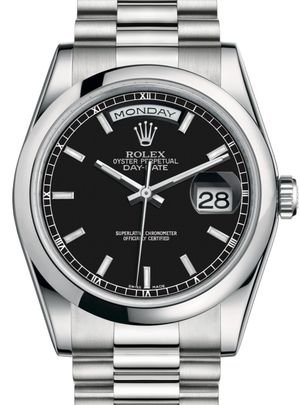 118206 Black index dial Rolex Day-Date 36