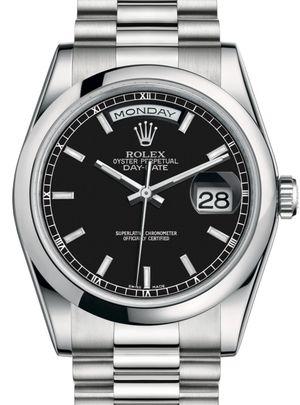 Rolex Day-Date 36 118206 Black index dial