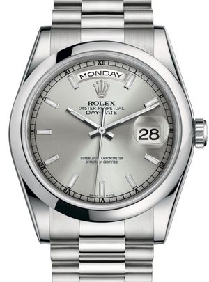 118206 Silver index dial Rolex Day-Date 36