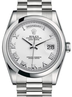 Rolex Day-Date 36 118206 White Roman hour markers