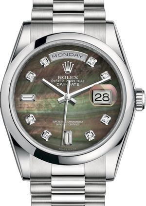 Rolex Day-Date 36 118206 Black mother-of-pearl set with diamonds