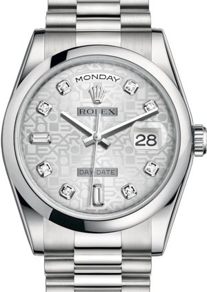 Rolex Day-Date 36 118206 Silver Jubilee design set with diamonds