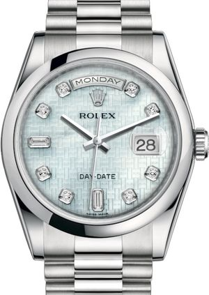 Rolex Day-Date 36 118206 Platinum mother-of-pearl with oxford motif