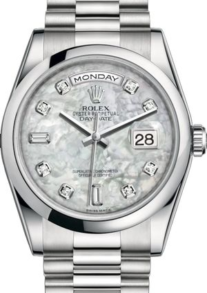 Rolex Day-Date 36 118206 White mother-of-pearl set with diamonds