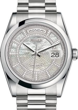 Rolex Day-Date 36 118206 Carousel of white mother-of-pearl