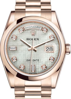 Rolex Day-Date 36 118205 White mother-of-pearl with oxford motif