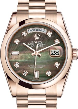 Rolex Day-Date 36 118205 Black mother-of-pearl set with diamonds