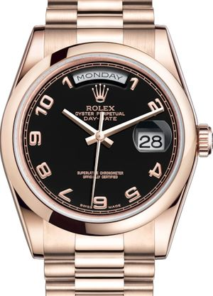 118205 Black with gold Arabic numerals Rolex Day-Date 36