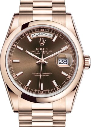 118205 Chocolate long-lasting blue luminescence Rolex Day-Date 36