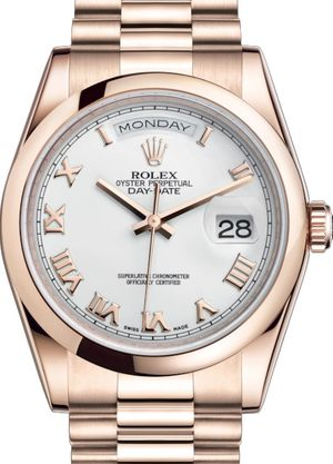 118205 White with gold Roman numerals Rolex Day-Date 36