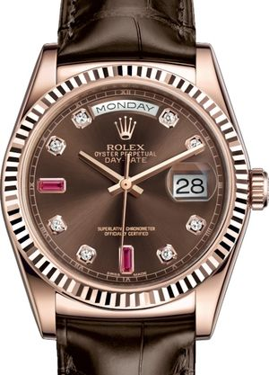118135 Chocolate set with diamonds and rubies Rolex Day-Date 36