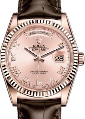 118135 Pink Roman numerals Rolex Day-Date 36