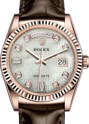 118135 White mother-of-pearl with oxford motif Rolex Day-Date 36