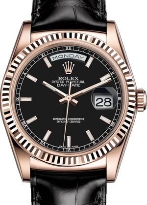 118135 Black long-lasting blue luminescence Rolex Day-Date 36
