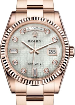 118235 White mother-of-pearl with oxford motif Rolex Day-Date 36