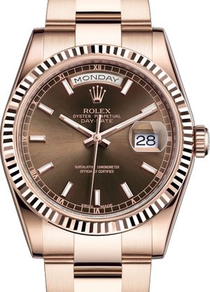 118235 Chocolate long-lasting blue luminescence Rolex Day-Date 36
