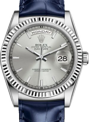 118139 Silver long-lasting blue luminescence Rolex Day-Date 36