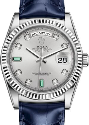 118139 Rhodium set with diamonds and emeralds Rolex Day-Date 36