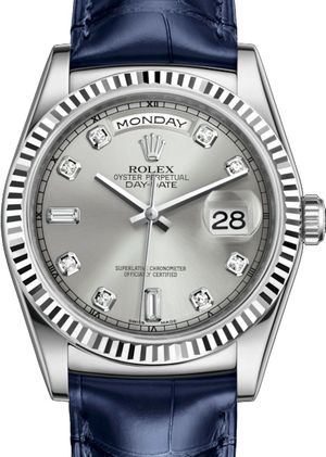 Rolex Day-Date 36 118139 Silver set with diamonds