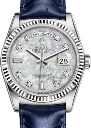 118139 White mother-of-pearl set with diamonds Rolex Day-Date 36