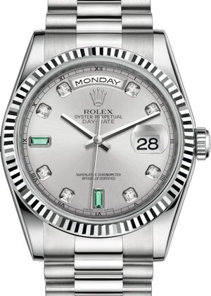 Rolex Day-Date 36 118239 Rhodium set with diamonds and emeralds