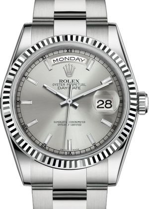 118239 Silver long-lasting blue luminescence Rolex Day-Date 36