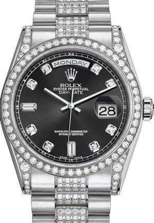 118389 Black set with diamonds Rolex Day-Date 36