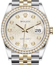 Часы Rolex Datejust 36 Yellow Rolesor Diamonds Bezel Jubilee Bracelet