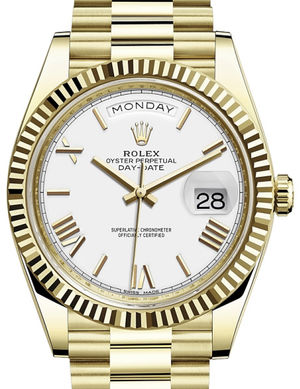 Rolex Day-Date 40 228238 White bevelled deconstructed Roman