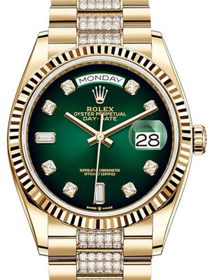 128238 Green ombre set with diamonds Rolex Day-Date 36