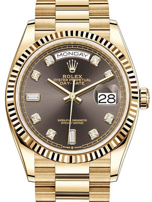128238 Dark grey set with diamonds Rolex Day-Date 36