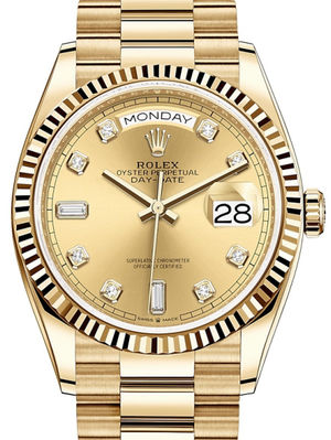 128238 Champagne-colour set with diamonds Rolex Day-Date 36